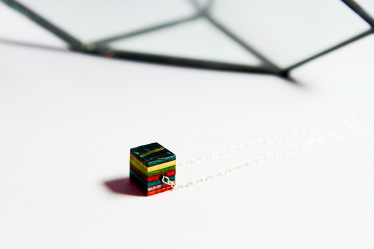 Thrashion recycled skateboard cube necklace
