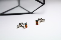 Thrashion recycled skateboard stripe cufflinks
