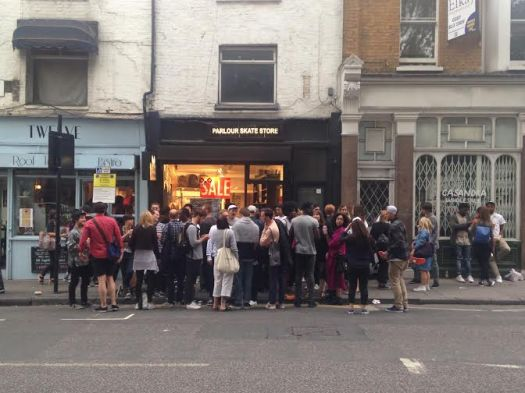 Crowds outside Parlour